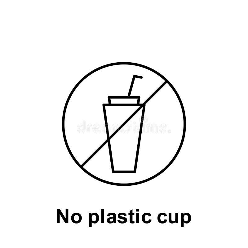 Aucune ic?ne en plastique de tasse ?l?ment d'ic?ne de probl?mes de pollution Ligne mince ic?ne pour la conception de site Web et  illustration stock