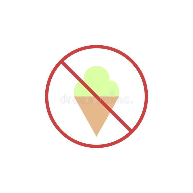 Aucune icône plate de crème glacée  illustration stock