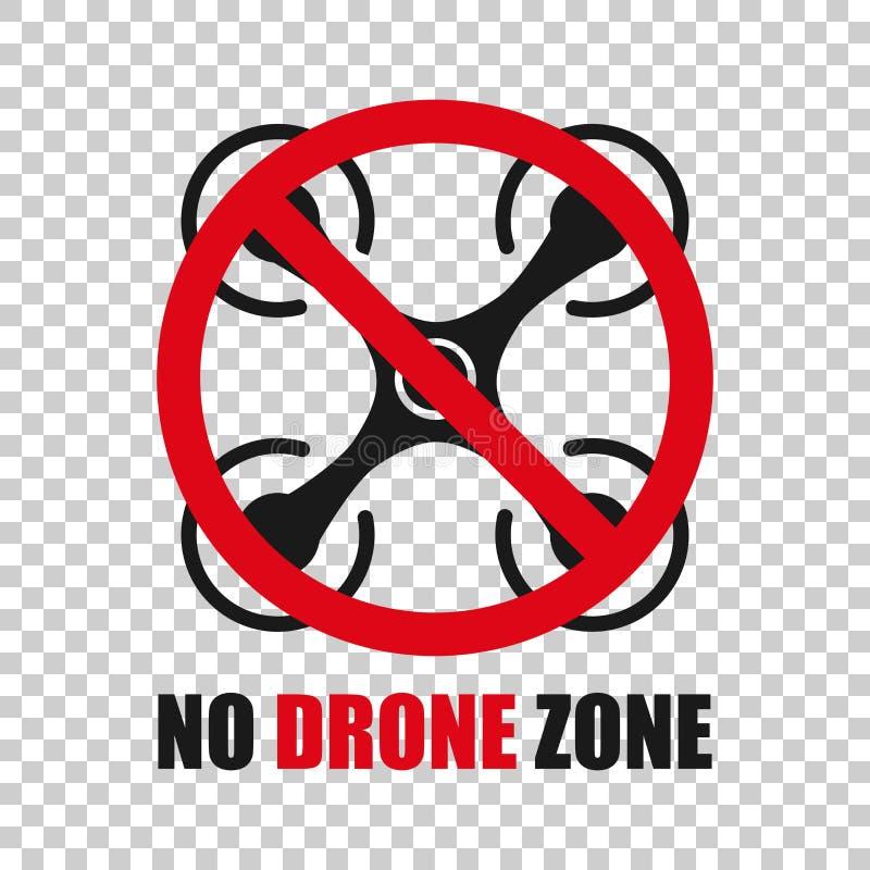Aucune ic?ne de signe de zone de bourdon dans le style transparent Illustration de vecteur d'interdiction de Quadrocopter sur le  illustration de vecteur