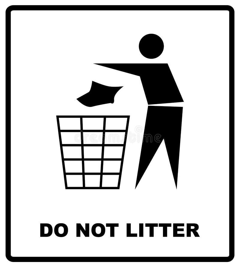 Aucune illustration de portée de vecteur de signe ne salissent l'autocollant d'interdiction pour des lieux publics en cercle roug illustration de vecteur