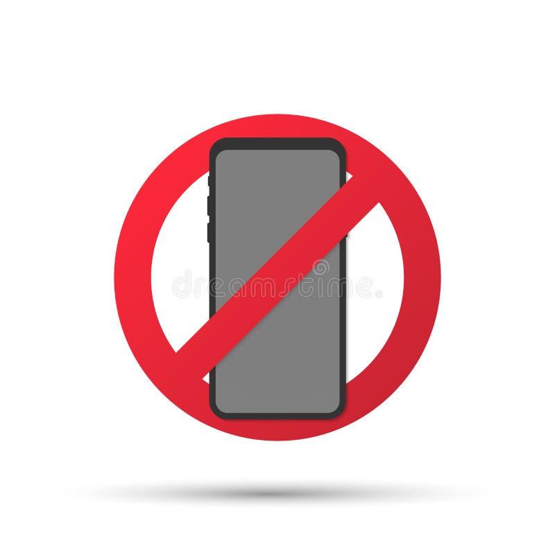 Aucune illustration de signe de téléphone portable, arrêt plat de bande dessinée utilisant le signe de zone de téléphone portable illustration stock