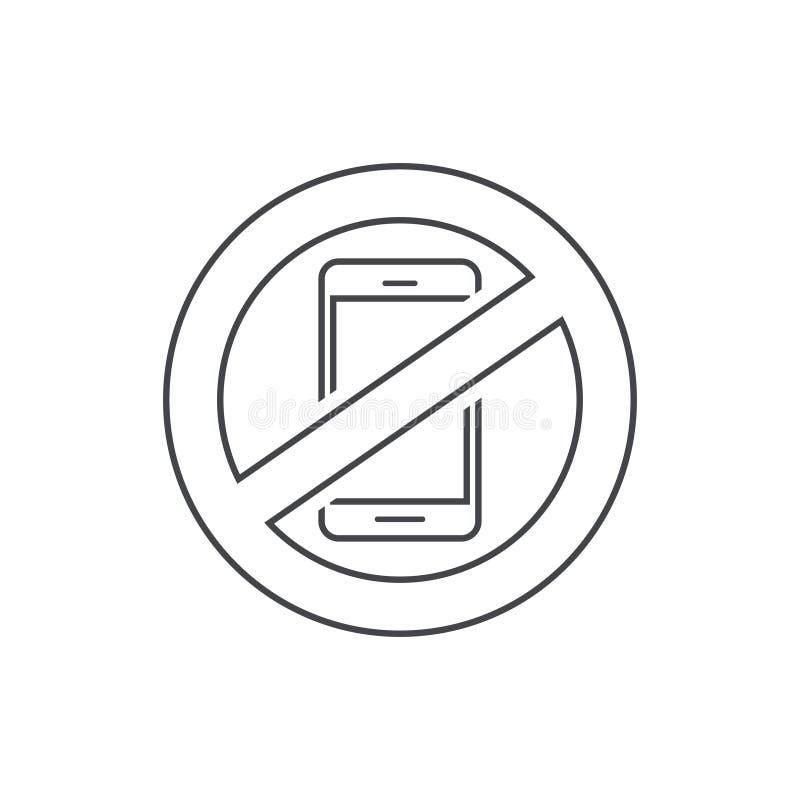Aucune illustration de vecteur de signe de téléphone portable, ligne arrêt d'ensemble utilisant le signe de zone de téléphone por illustration libre de droits
