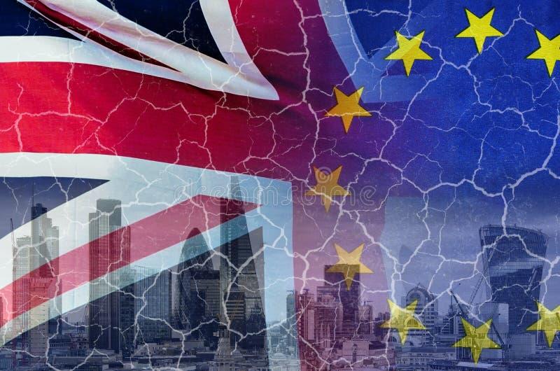 Aucune image conceptuelle de Brexit d'affaire des fissures au-dessus de l'image de Londres W photographie stock libre de droits