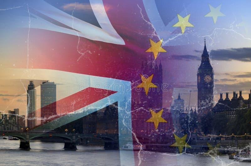 Aucune image conceptuelle de Brexit d'affaire des fissures au-dessus de l'image de Londres W photo stock