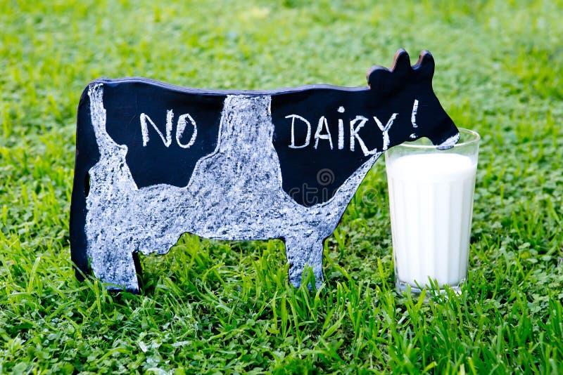 Aucune laiterie manuscrite dans la craie sur la vache à tableau noir à côté du verre de photos libres de droits