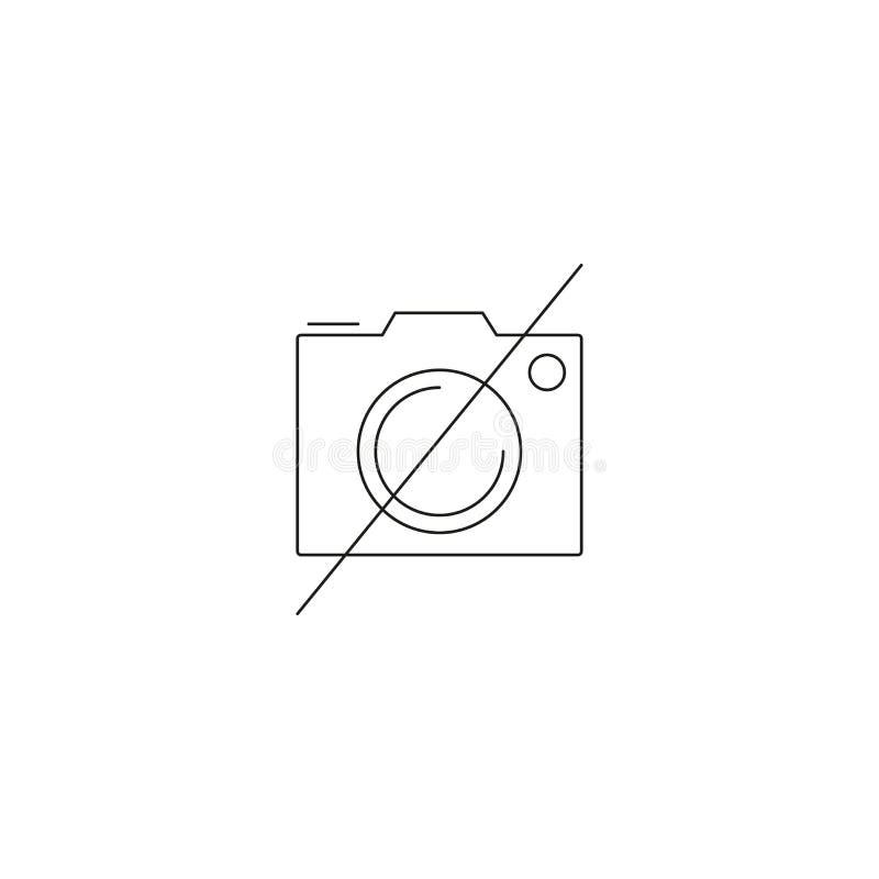 Aucune ligne icône de photographie, interdite pour employer le logo de vecteur d'ensemble d'appareil-photo, pictogramme linéaire  illustration stock