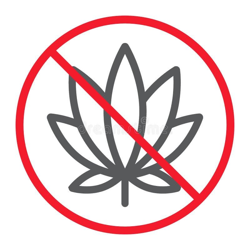 Aucune ligne icône, interdiction de marijuana et interdit illustration de vecteur
