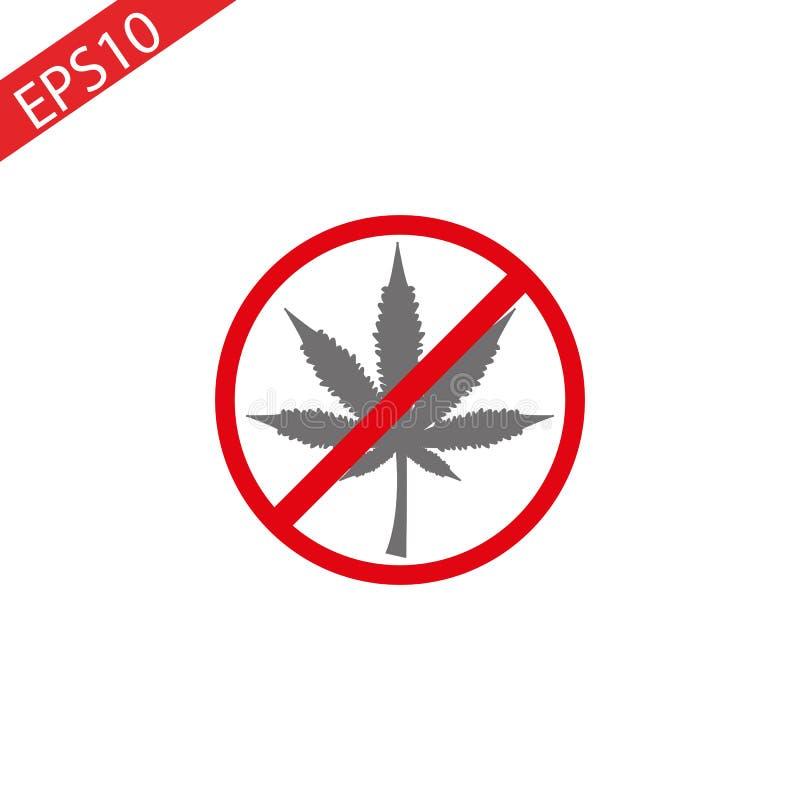 Aucune marijuana, aucune drogues Signe d'interdiction de feuille de cannabis, illustration illustration stock