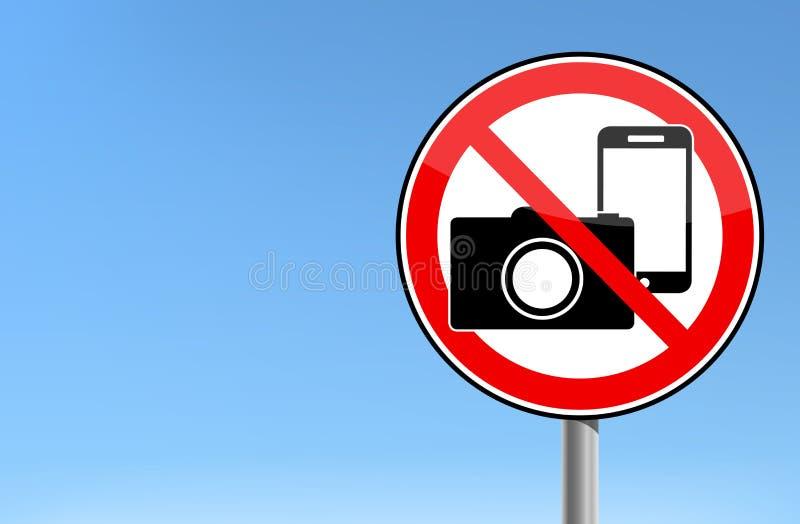 Aucune photo et aucun signe de téléphone - fond interdit de ciel de signe illustration stock