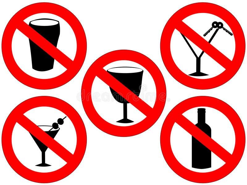 Aucuns signes d'alcool illustration libre de droits