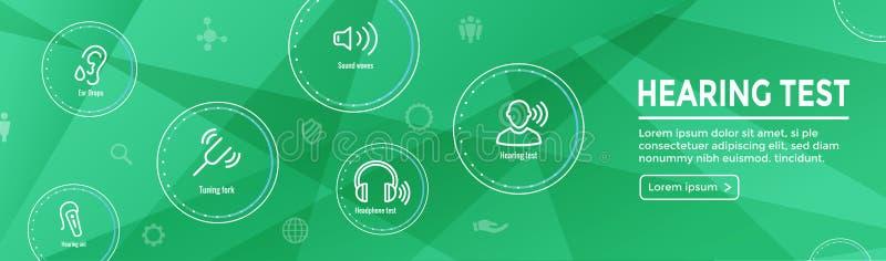 Audífono de la prueba de audiencia w o pérdida/web H del sistema de imágenes de la onda acústica ilustración del vector