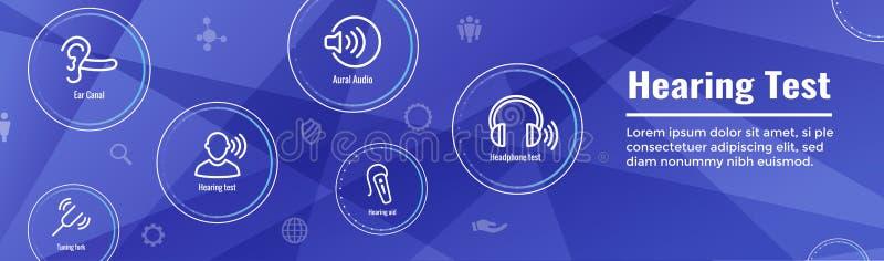 Audífono de la prueba de audiencia w o pérdida/web H del sistema de imágenes de la onda acústica libre illustration