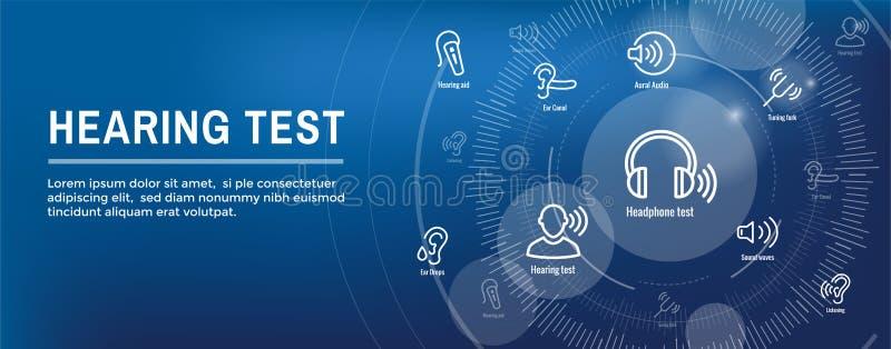 Audífono de la prueba de audiencia w o pérdida/web H del sistema de imágenes de la onda acústica stock de ilustración