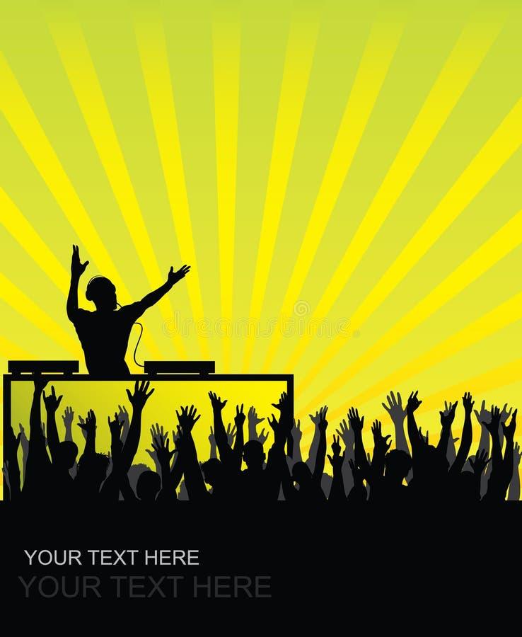 Audiência cheering do DJ ilustração royalty free