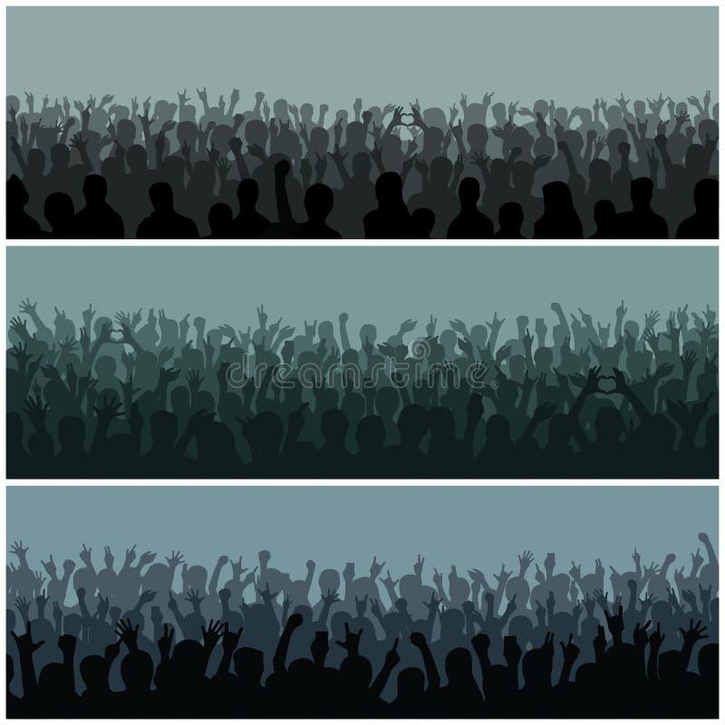 A audiência com silhueta das mãos levantou o festival e o concerto de música que fluem para baixo de cima do vetor da fase ilustração royalty free
