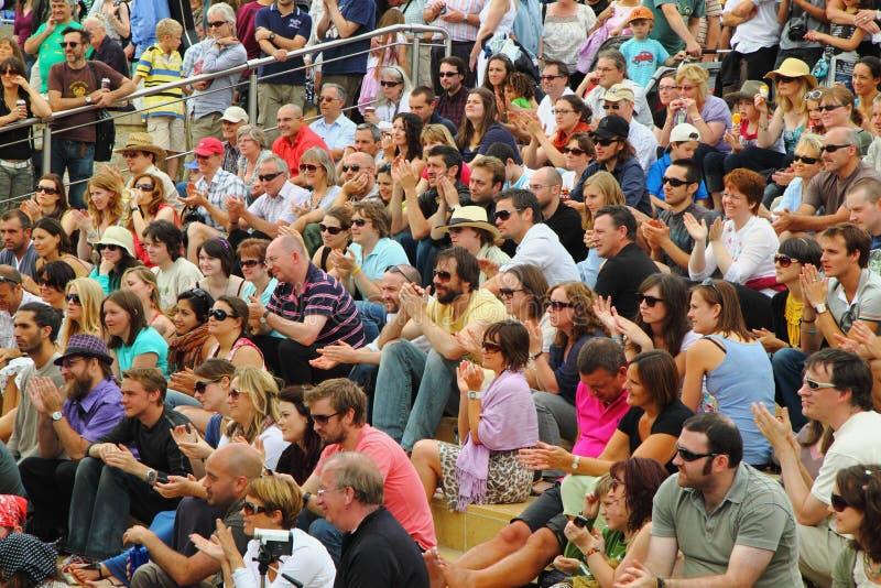 Audiência feliz imagem de stock