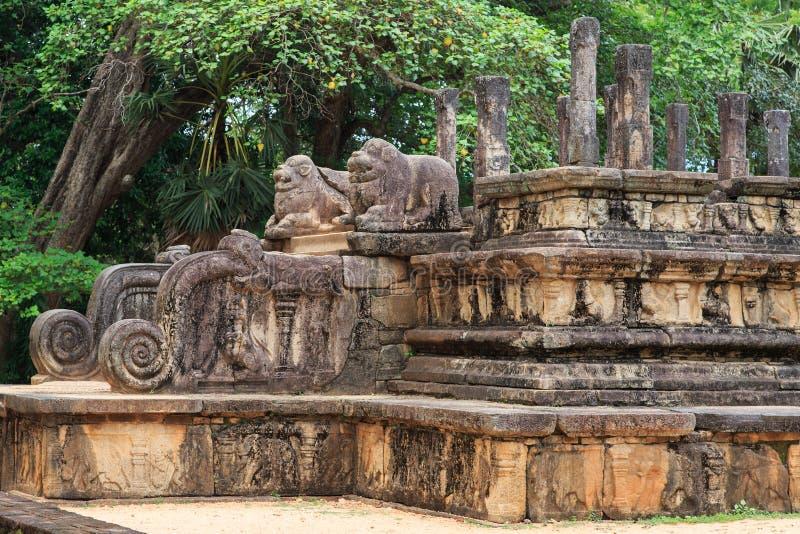 Audiência Salão - ruínas em Polonnaruwa - Sri Lanka fotos de stock royalty free