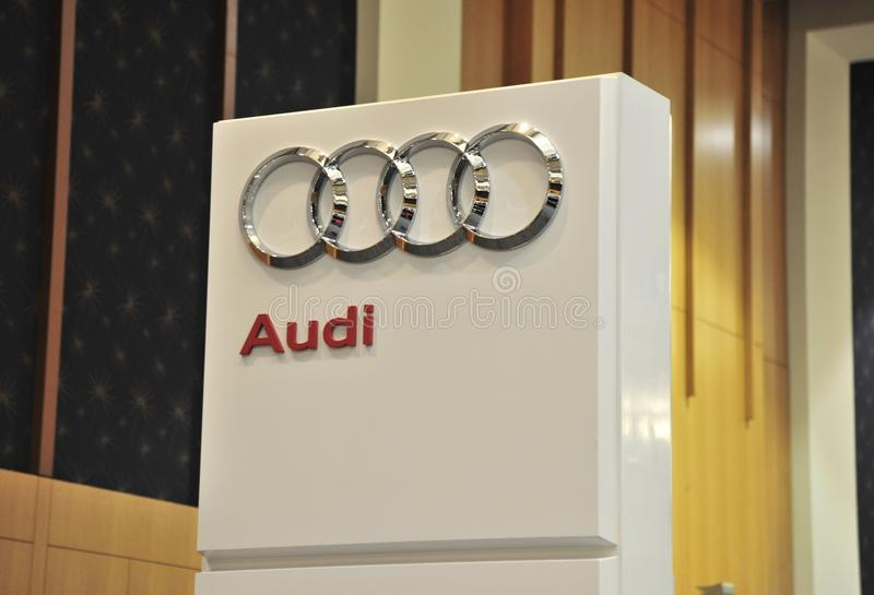 Audi Automobile Company Show Sign imagens de stock royalty free