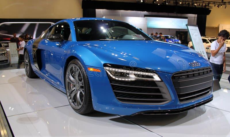 Audi azul A8 2015 fotografia de stock royalty free
