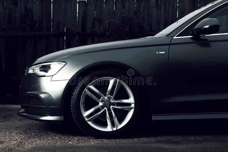 Audi A6 C7 rims. Audi A6 C7 vehicle from 2015 Studio lights were used for this shot royalty free stock image