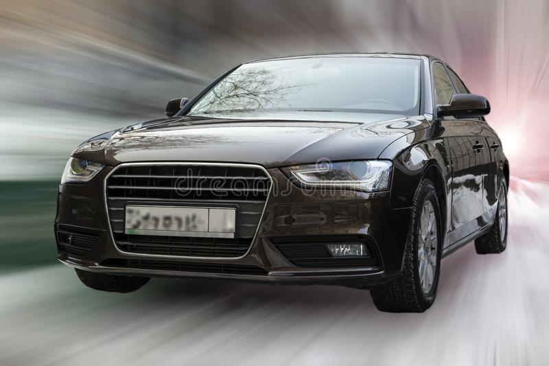 Audi A4 car. Audi A4 car on blurred in motion background royalty free stock images
