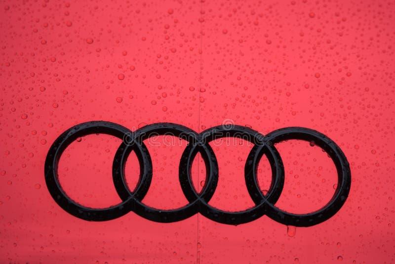 Audi Car Brand Logo In Red stock image