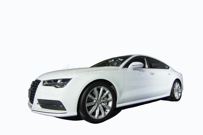 Audi A7 car. Front corner view of Audi A7 car - isolated on white stock photography
