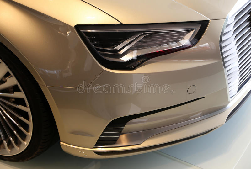 Audi Car Head Light. A Audi sports car in exhibition hall royalty free stock images