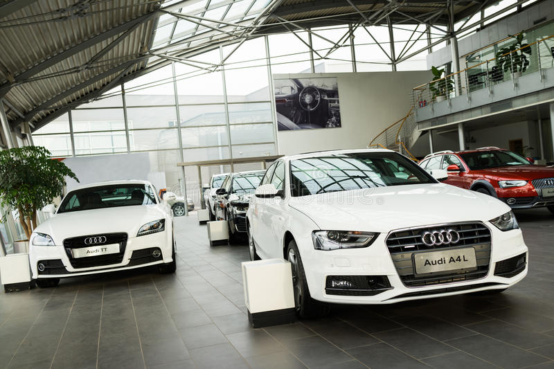 Audi cars for sale. Audi cars at car dealership showroom royalty free stock photos