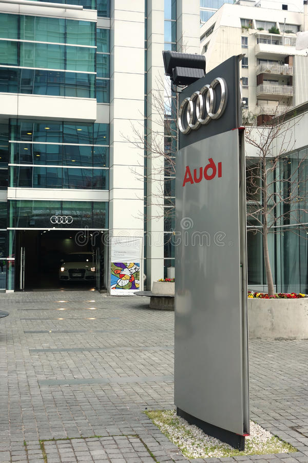 Audi Dealer. An Audi dealer in Santiago, Chile. Audi is a German manufacturer that designs, engineers, produces, markets and distributes automobiles royalty free stock photo