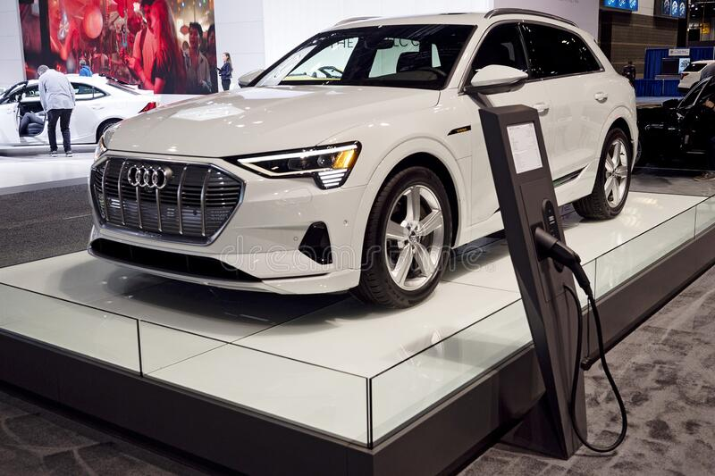 Audi e-Tron at the annual International Auto-show royalty free stock images