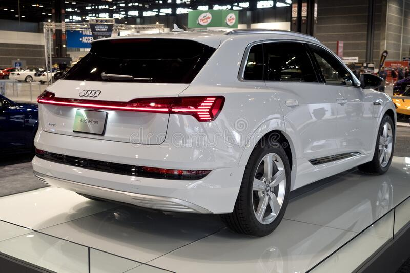 Audi e-Tron at the annual International Auto-show royalty free stock photo