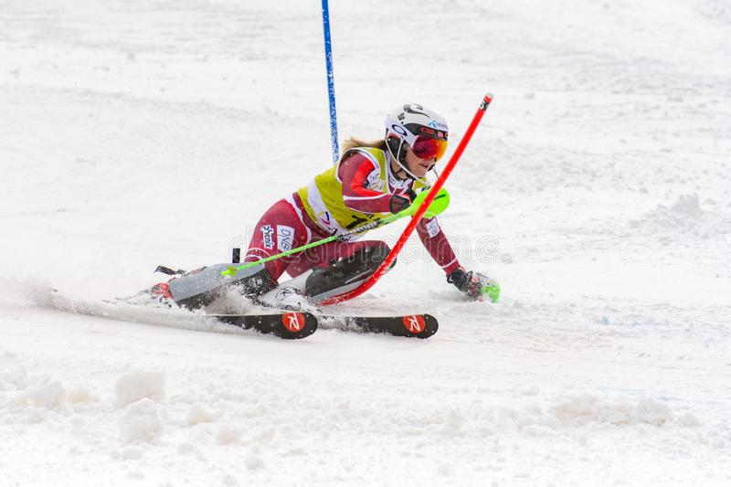 Skier in competes during the Audi FIS Alpine Ski World Cup Women`s Super Combined on February 28, 2016 in Soldeu, Andorra. Audi FIS Alpine Ski World Cup - Women` stock images