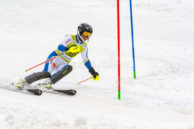 Skier in competes during the Audi FIS Alpine Ski World Cup Women`s Super Combined on February 28, 2016 in Soldeu, Andorra. Audi FIS Alpine Ski World Cup - Women` stock photos