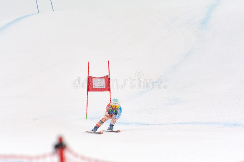Skier in competes during the Audi FIS Alpine Ski World Cup Women`s Super Combined on February 28, 2016 in Soldeu, Andorra. Audi FIS Alpine Ski World Cup - Women` royalty free stock images