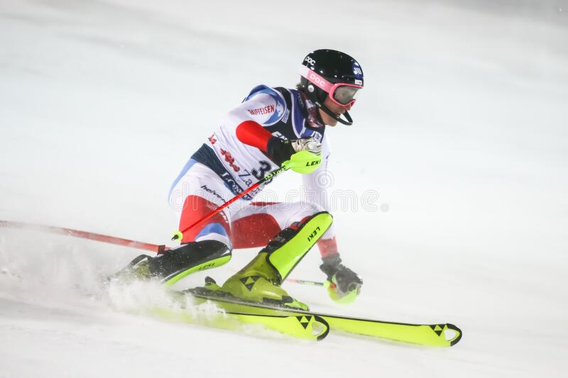 Audi Fis Ski World Cup 2020 Mens Slalom 2nd run. Zagreb, Croatia - January 5, 2020 : Tanguy Nef from Switzerland competing on the 2nd run during the Audi FIS stock photo