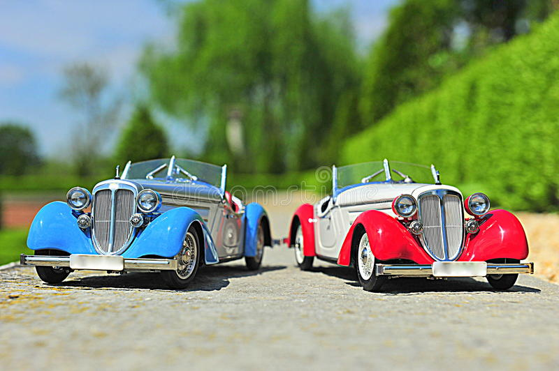 Audi 225 Front Roadster replica model cars. Vintage cabriolets from 1935 from the german producer Audi stock photos