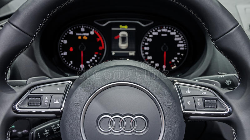 Audi A3 interior car editorial stock image. Image of industry - 96476884
