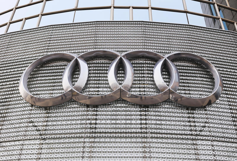 Audi Logo. On the building royalty free stock image