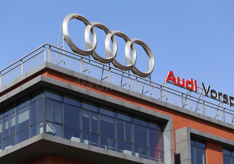 Audi Logo. On the building royalty free stock photography