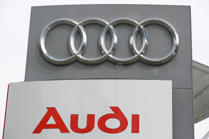 AUDI Logo. HUETTENBERG, GERMANY JULY, 2017: AUDI logo on a showroom facade. AUDI is a German automobile manufacturer based in Ingolstadt, BADEN-WÃœRTTEMBERG stock image