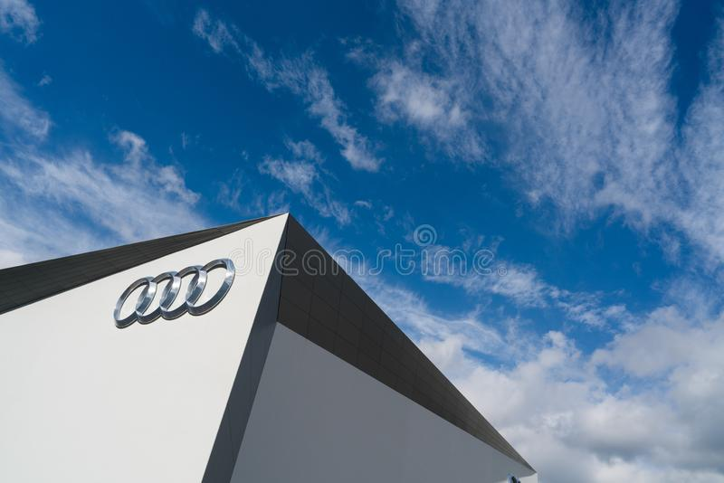 An audi logo on the wall. At a auto show,Frankfurt, Germany. sep 2015 stock images