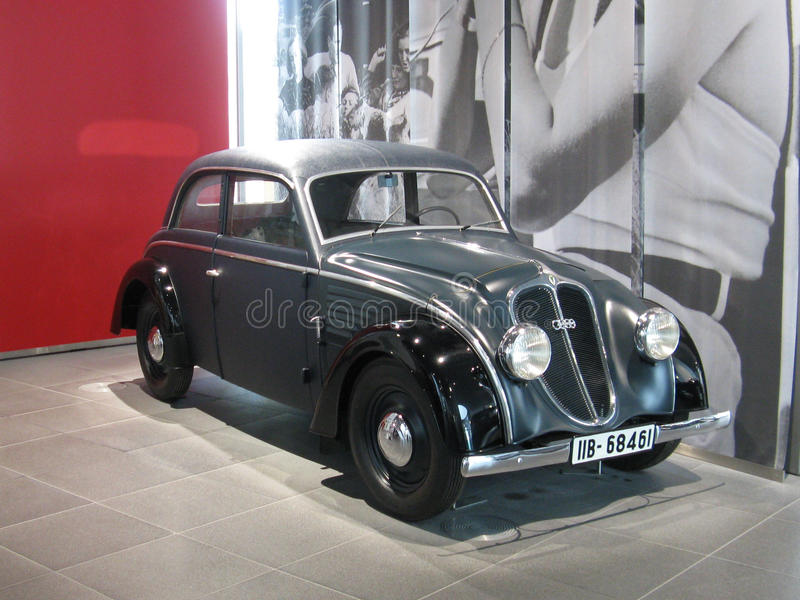 1938 Audi 920. A 1938 Audi 920 in the manufacturer's museum in Ingolstadt. The Audi 920 was a car introduced in 1938 by Audi to replace the Audi Front UW 225 stock photo