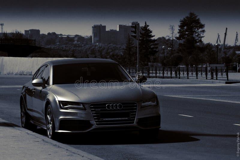 Audi noir et blanc A7 photo stock