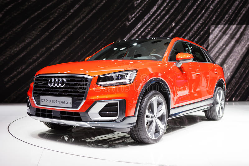 Audi Q2 in Geneva. GENEVA, SWITZERLAND - MARCH 1: Geneva Motor Show on March 1, 2016 in Geneva, Audi Q2, front-side view stock image