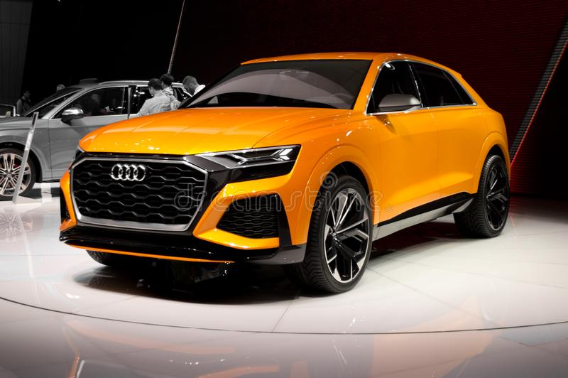 Audi Q8 at Geneva 2017. 87th Geneva Autoexpo 2017 Premiere of the prototype for Audi`s high profile SUV during the swiss autoexpo royalty free stock photo