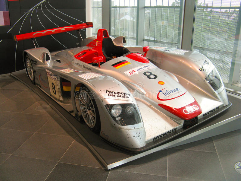 Audi R8 at Audi Museum. The Le Mans winner prototype Audi R8 exposed inside the official manufacturer museum in Ingolstadt stock image