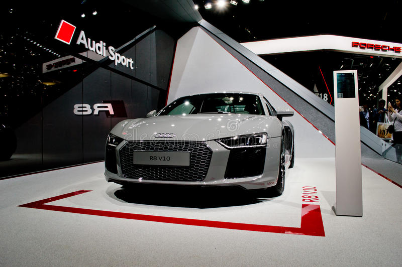 Audi R8 at Geneva 2016. The second generation of the Audi R8 exposed at the 2016 Geneva Autoexpo. Replacing the first series that lasted 8 years, this new stock images