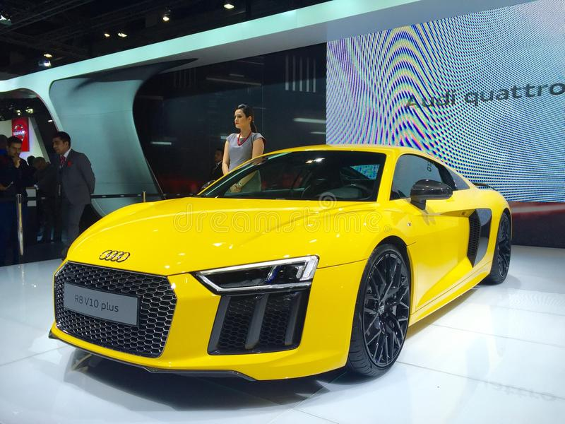 Audi R8 launched at Auto Expo 2016, Noida, India. The Audi R8 launched at Auto Expo 2016. The Auto Expo 2016 held in Noida, India from 4th to 9th February 2016 stock photo