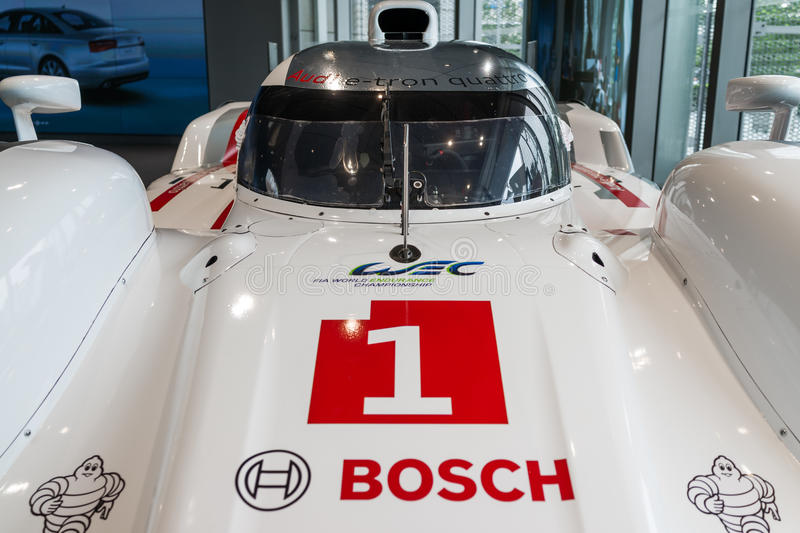 Audi R18 Le Mans car. In showroom for exhibition royalty free stock photography